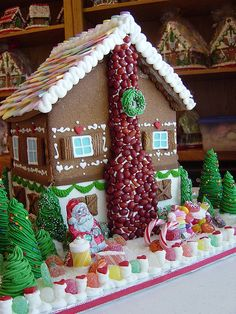Use rice krispy treats for the chimney