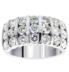 3.00 CT TW 7-Row Bars Channel Set Round Diamond Anniversary Ring in 14k White Gold - Size 12 *** Details can be found by clicking on the image.
