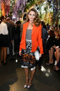 Olivia Palermo mixes color, pattern and texture for a chic look.