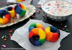 Mini Rainbow Doughnuts.  This is good info on the mini-doughnut pan I have, including recipe and how to fill the pan.  And I think making these pastel for Easter would be great!!!