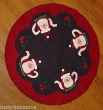 "Primitive Christmas Penny Rug Pattern ""Tea With Santa"""