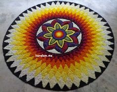 Rangoli Designs Flower, Colorful Rangoli Designs, Rangoli Ideas, Flower Rangoli, Diwali Decorations, Flower Decorations, Onam Pookalam Design, Ganesh Rangoli