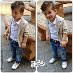 Stop dressing your kids as grown ups and dress them as kids! This is not cute, this is almost disturbing.