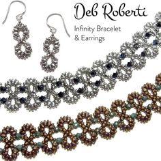 15c7bd4f6f Infinity Bracelet and Earrings beaded pattern tutorial by Deb Roberti.  VorlagenArmbänderDoppelte ZierperlenArmband ...