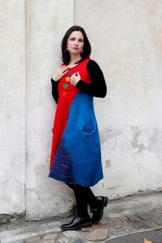 Colorful OOAK dress  Red dress  Wool and silk dress  by Subtile