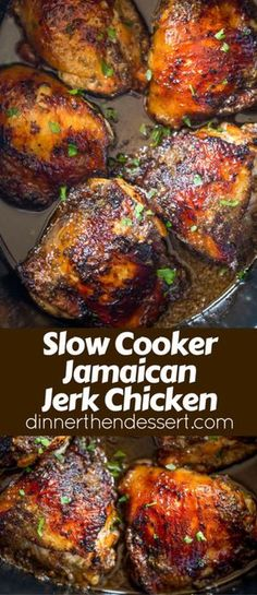 Slow Cooker Jerk Chi Slow Cooker Jerk Chicken is a quick recipe. Slow Cooker Jerk Chi Slow Cooker Jerk Chicken is a quick recipe with fantastic authentic Jamaican flavors of peppers onions allspice and cloves and with no mess to clean up. Crock Pot Recipes, Healthy Crockpot Recipes, Beef Recipes, Crockpot Meals, Crock Pots, Recipies, Slow Cooker Dinners, Crock Pot Slow Cooker, No Carb Slow Cooker Recipes