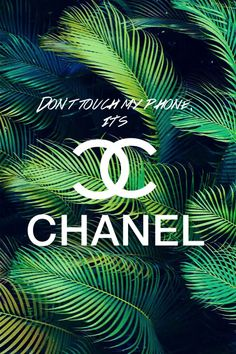 Green white palms tropical Don't Touch Its Chanel iphone wallpaper background phone lockscreen