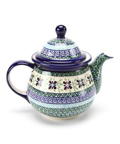Take a look at this Navy Blue & Emerald 6.5-Cup Teapot by Pottery Avenue on #zulily today!
