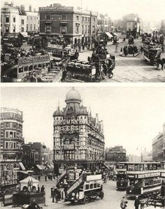 LONDON/PUBS: The Elephant and Castle in the centuries of Horse-Tram and Motor-bus; Vintage photographic book illustration, 1926; approximate size 21.5 x 17.0cm, 8.5 x 6.5 inches