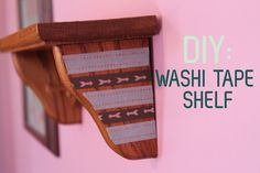 Decorate a wall shelf. | 56 Adorable Ways To Decorate With Washi Tape