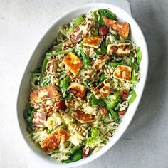 This salad is layered with orzo pasta, fresh greens, salty haloumi and topped with toasted pinenuts. The perfect salad to serve at a BBQ. How To Cook Orzo, How To Cook Asparagus, Asparagus Recipe, Cooked Asparagus, Gourmet Recipes, Pasta Recipes, Cooking Recipes, Healthy Recipes, Healthy Food
