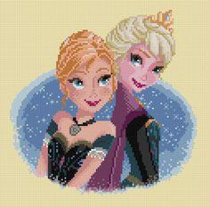 PDF pattern 0027. Anna & Elsa (Frozen) by PIXcross