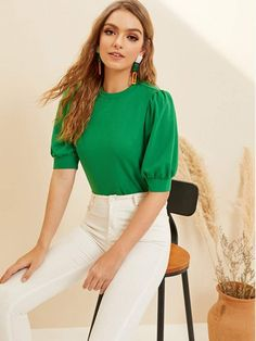 Puff Sleeve Keyhole Back Top Kurti Sleeves Design, Fashion Design Sketches, Summer Outfits Women, Blouse Designs, Trendy Fashion, Ideias Fashion, Fashion Dresses, Work Casual, Casual Chic