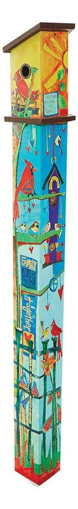 Unique vinyl birdhouse on 6-ft. post features a reproduction of hand painted artwork by Stephanie Burgess. No digging easy install, durably strong, fun for garden