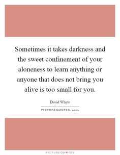 Sometimes it takes darkness and the sweet confinement of your aloneness to learn anything or anyone that does not bring you alive is too small for you Picture Quote #1