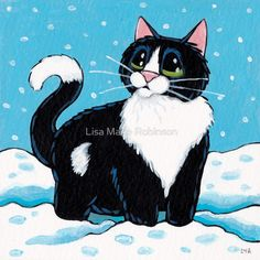 Knee Deep in the White Stuff (Tuxedo Cat in Snow) by Lisa Marie Robinson