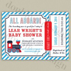 Train baby shower invitation train ticket baby by sweetfaceink train ticket boarding pass baby shower invitation printable chevron invitation with color options on filmwisefo Image collections