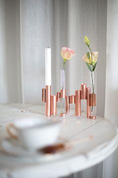 Transformer un tube de cuivre de plomberie en un bougeoir et soliflore vase original creation deco par la delicate parenthese pour Houxx