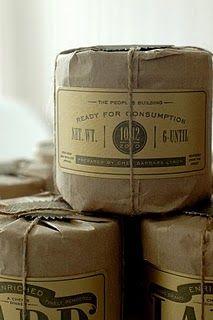 custom letterpress, kraft paper packaging by Barbara Lynch Candle Packaging, Paper Packaging, Coffee Packaging, Pretty Packaging, Brand Packaging, Packaging Ideas, Simple Packaging, Product Packaging, Label Design