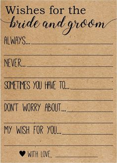 Wishes for the Bride and Groom . Advice for the Bride and Groom Cards . Wishes for the Bride and Gro a wish for the bride and groom, Add a suggested date night activity to it? Source by kandah. Bridal Shower Planning, Bridal Shower Party, Wedding Planning, Wedding Ideas, Wedding Card, Bridal Shower Rustic, Bridal Shower Advice, Best Bridal Shower Games, Bridal Shower Wishes