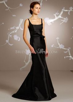 thin shoulder straps black satin a-line long bridesmaid dress