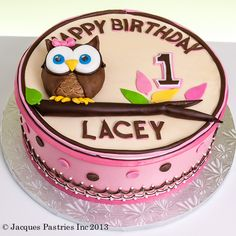 Pink & Brown Owl Birthday Cake (Lacey)