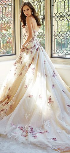 Sophia Tolli Fall 2014 Bridal Collection - wedding dress with thin straps and floral details. I fell in love with this type of wedding dresses when I watched the new Cinderella movie. Ella's wedding gown in unbelievably beautiful - this reminds me of it. Dream Wedding Dresses, Bridal Dresses, Wedding Gowns, Prom Dresses, Wedding Blog, Decor Wedding, Wedding Ideas, Wedding Colors, Wedding Flowers