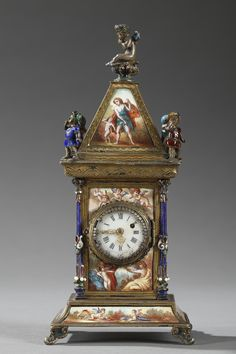 Small silver and multicolored enamel clock. It is richly decorated with mythological scenes, people in flowing garments, and Cupids in landscapes. The circular clock face marks the hours in Roman n. Clock Antique, Antique Clocks For Sale, Vintage Clocks, Art Decor, Decoration, Unusual Clocks, Wall Clock Wooden, Classic Clocks, Pendulum Clock