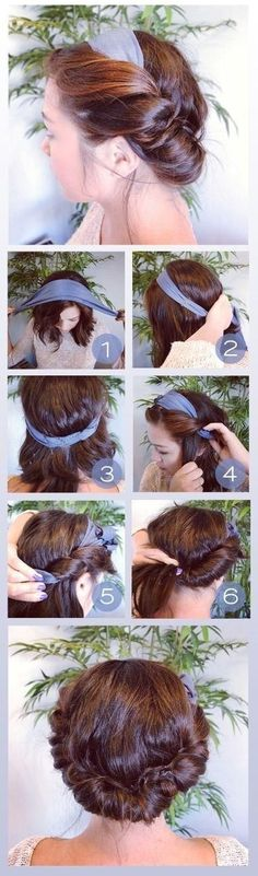 hairstyles beach 23 Five-Minute Hairstyles For Busy Mornings Cute Summer Hairstyles : Scarf Updo Pictorial ! Five Minute Hairstyles, Summer Hairstyles, Up Hairstyles, Hairstyle Ideas, Hairstyle Tutorials, Bun Tutorials, Simple Hairstyles, Style Hairstyle, Hairstyles To Sleep In