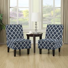2 for $239. The Portfolio Wylie set of 2 armless chairs features upholstery in a navy blue and white fabric. These chairs are designed with a slightly contoured square back, no sag springs and thick deep seat foam cushioning for extraordinary comfort.