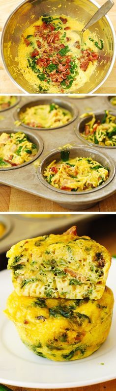 Gluten free-Breakfast Egg Muffins with Bacon and Spinach Recipe: These muffins make a great breakfast, lunch, or a snack to pack up for work, school, or a picnic! Breakfast And Brunch, Breakfast Dishes, Breakfast Recipes, Bacon Breakfast, Breakfast Healthy, Breakfast Egg Muffins, Bacon Muffins, Healthy Egg Muffin Cups, Breakfast Ideas With Eggs
