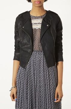 $85, Black Leather Biker Jacket: Mirabelle Faux Leather Biker Jacket by Topshop. Sold by Nordstrom. Click for more info: http://lookastic.com/women/shop_items/154065/redirect
