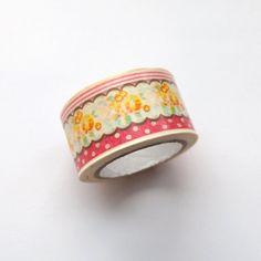 Washi Masking Tape Roll - Yellow Flowers Masking Tape, Washi Tape, Yellow Flowers, Rolls, Wedding Rings, Japanese, Engagement Rings, Paper, Jewelry