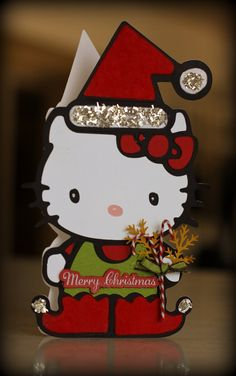 Bitten by the Bug Hello Kitty Greetings Christmas Cards, Merry Christmas, Hello Kitty Christmas, Shaped Cards, Cricut Explore, Paper Crafting, Cricket, Bugs, Card Ideas