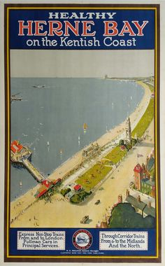 Affiche ancienne originale Southern Railway Herne bay on the kentish coast Posters Uk, Train Posters, Railway Posters, Poster Prints, Vintage Beach Posters, Poster Photography, British Seaside, Tourism Poster, Southern Railways