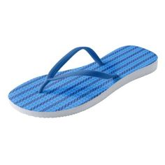 Cornflower & Duke Blue Diamond Striped Pattern Flip Flops - pattern sample design template diy cyo customize