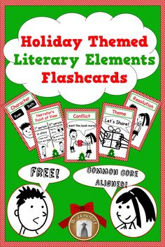 This is a set of FREE Literary Elements Flashcards that your students will LOVE! It includes a Common Core aligned reading and writing activity. #ChristmasFreebie #LiteraryElements #CCSS