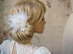 Haarschmuck & Kopfputz - Federn Braut Haarschmuck Perlen ivory - ein Designerstück von Elizabethmode bei DaWanda