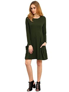 aa49f9bb67 ROMWE Womens Loose TShirt Long Sleeves Casual Pockets Plain Dress Green XS     You can