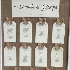 seating chart on burlap frame