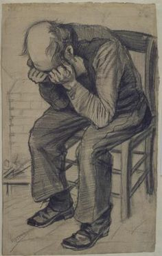 Vincent van Gogh  - Worn Out (1882) 'What a fine sight an old working man makes, in his patched bombazine suit with his bald head', Van Gogh wrote to his brother on 24 November 1882, with reference to this drawing. The old workman was Adrianus Zuyderland, resident of the Dutch Protestant Almshouse for Old Men and Women. In return for a small payment, various residents of the almshouse regularly spent a morning or afternoon posing for Van Gogh.