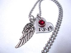 Memorial Jewelry, Personalized Jewelry, Memorial Necklace, Hand Stamped Jewelry, Angel Wing Necklace, Infant Loss, Miscarriage by CharmAccents on Etsy