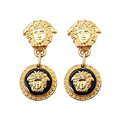 Preowned Gianni Versace Medusa Black/gold Earrings (€495) ❤ liked on Polyvore featuring jewelry, earrings, accessories, versace, multiple, versace jewelry, gold earrings, versace earrings, long earrings and gold jewelry