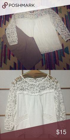 Illusion lace top Super cute with jeans, shorts, any color pants... Illusion neckline helps to make this not look like any other white shirt you have in your closet ❤️ Tops Blouses