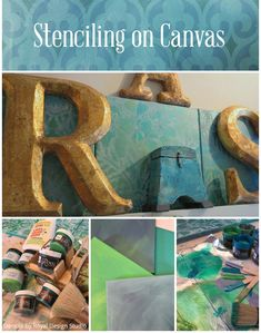 DIY Stenciling on Canvas with Royal Design Studio wall stencils and Chalk Paint | Paint + Pattern