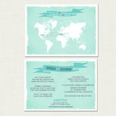 Two Countries, One Love Bilingual World Map Wedding Invitation - Multiculturally Wed