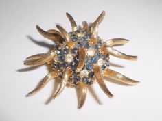 Boucher Anemone Brooch Pin Sapphire Blue & Clear Rhinestones #8465P #Boucher