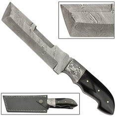 Hand Forged Full Tang American Tanto Buffalo Horn Damascus Steel Utility Cleaver