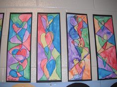 Heart Art - Have students draw three hearts with their pencil.  Then have them draw three lines that go through each heart.  Use watercolors to paint the sections.  Go over lines with a Sharpie marker when dry.