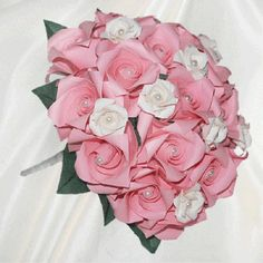 """Pink & White Roses"" origami wedding bouquet for bridesmaid  - 52 folded elements (origami flower & foliage)  - Free Shipping Worldwide - $119.99"